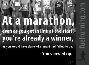Marathon Running Motivational Quotes At a marathon, even as you get