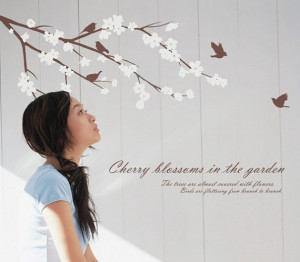 Cherry Blossom in the Garden with Birds Wall Sticker