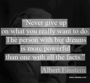 Motivational thoughts – Never give up, by Albert Einstein
