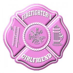 Firefighters Girlfriend Maltese Cross Pink Decal