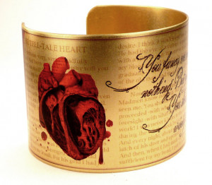 Edgar Allan Poe Tell-Tale Heart Quote Bracelet with Anatomical Heart ...