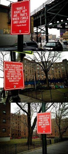 artists, red sign, subway signs, rap quot, sign art, street art ...