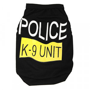 Black K-9 Unit Sleeveless T-Shirt Dog Clothes Costume Size L For ...