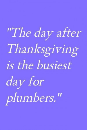 The Day After Thanksgiving Is The Busiest Day For Plumbers.