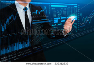 businessman trading stock by futuristic screen interface - stock photo