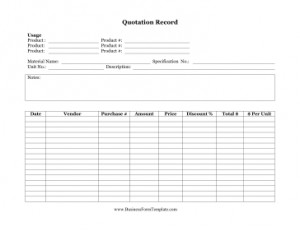quotation record a free printable quotation record such as this can be ...
