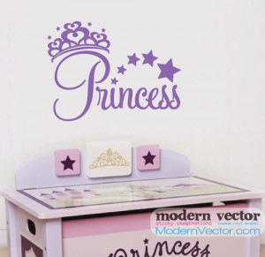 Details about Princess Crown Girls Vinyl Wall Quote Decal Nursery