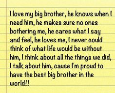 Love My Brother Quotes I love my big brother