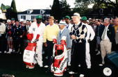 Honorary Starters Sam Snead Gene Sarazen and Byron Nelson stand with