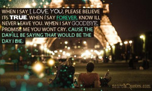 ... leave you. When I say goodbye, promise me you wont cry. Cause the day