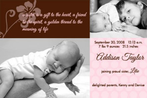 Addie Sibling Birth Announcement
