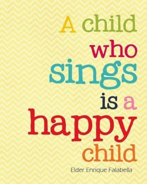 Sings = happy child