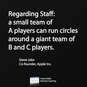 Regarding Staff: a small team of A players can run circles around a ...