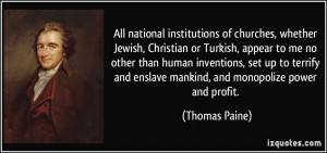 institutions of churches, whether Jewish, Christian or Turkish ...