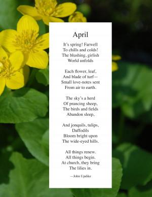 April Poems For Kids April by john updike