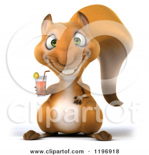 Clipart of a 3d Happy Squirrel Holding a Tablet Computer Royalty