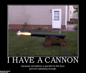 HAVE A CANNON - because sometimes a gunshot to the face just isn't ...