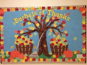 ... | Thanksgiving bulletin board with fall leaves and apple baskets