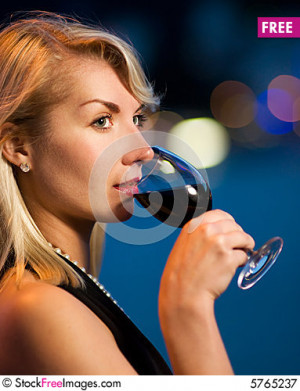 Free Lady Drinking Red Wine