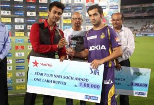 Gautam Gambhir-Star Plus Nayi Soch Award -KKR vs PWI-IPL-2013