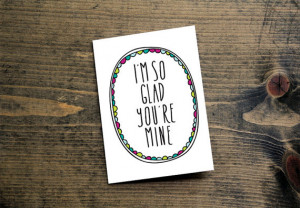 so glad you're mine romantic card anniversary card hot pink lime ...