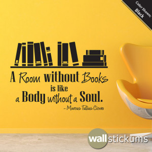 Wall Quote Decal - A room without books Vinyl Wall Art Decal Quote ...
