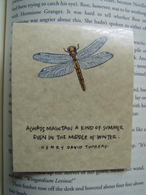 henry david thoreau quote dragonfly magnetic laminated bookmark