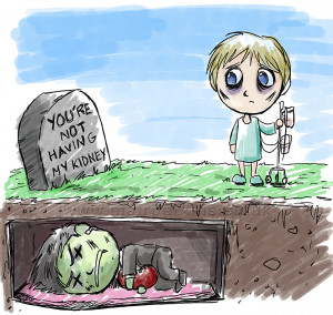 Dark humoured, morbid and cute illustration to promote organ donation.
