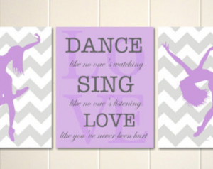 ... , dance like no one's watching, dance quotes, Set of 3 girls posters