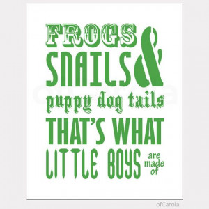 Frogs Snails Puppy Dog Tails Boys Are Made Green White Baby Nursery ...