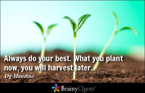 ... do your best. What you plant now, you will harvest later. - Og Mandino