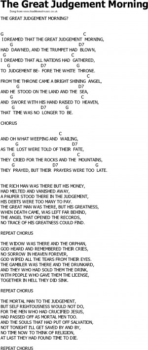 Old Country song lyrics with chords - The Great Judgement Morning