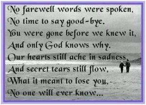 No farewell words were spoken...