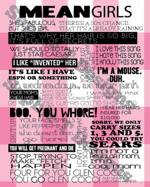 Mean Girls Quotes // INSTANT DOWNLOAD Poster // by sophietdesigns, £4 ...