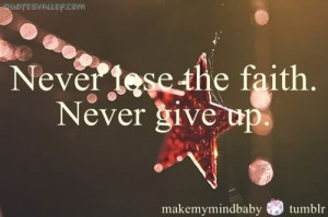 Never Lose The Faith, Never Give Up