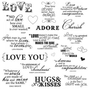 Fiskars - Clear Acrylic Stamps - 8 x 8 - Lasting Love Quotes