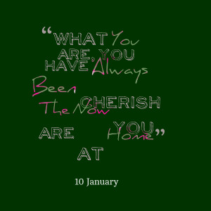 Quotes Picture: what you are, you have always been cherish the now you ...