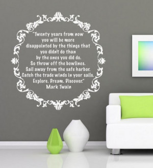 Vinyl Quote Wall housewares - Mark Twain decal Quote