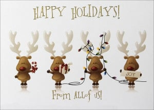 ... Cards > Business Christmas Cards > From All of Us > Cheery Reindeer