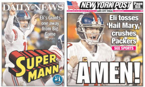 What kind of superhero is Eli Manning for beating the Packers?