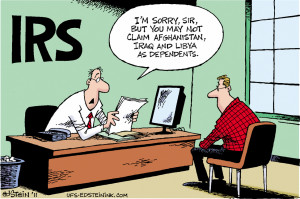 The IRS says that we can't claim Afghanistan, Iraq or Libya as ...