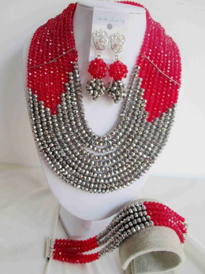 Selling Red Silver Crystal Nigerian Traditional Wedding African Beads