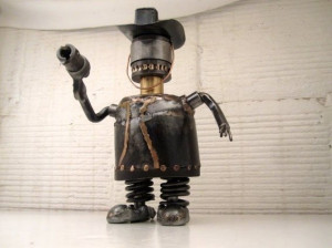 Custom Made Dirty Larry Fat Cowboy Metal Sculpture