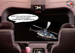 Commander Data falls asleep at the wheel again. Hope the airbags work ...