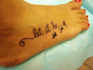 Cute Foot Tattoo Designs for Girls writing