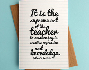 Teacher Thank You Einstein Quote Ty pographic Teacher Card ...