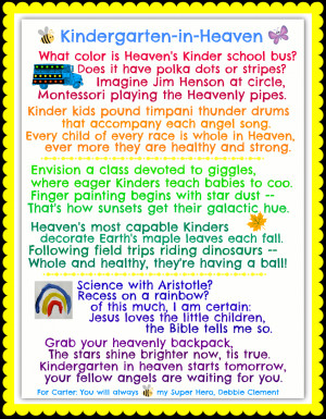 Kindergarten in Heaven (for Carter) Missing Mom In Heaven Poems
