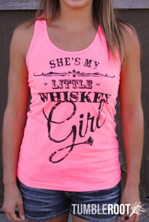 ... Little Whiskey Girl - Neon Pink Tank top with black ink - Toby Keith