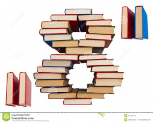 Stock Photo: Alphabet made out of books, figures 8 and double quotes