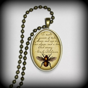 Emily Dickinson - Quote Pendant Charm, Skull Pendant, Literary Pendant